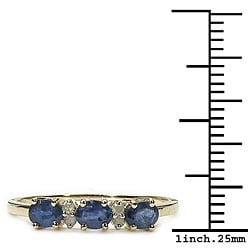 Malaika 10k Gold Blue Sapphire Diamond Ring - Thumbnail 2