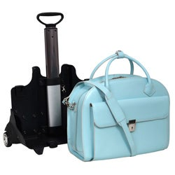McKlein Blue Glen Ellyn Leather Detachable-Wheeled Laptop Case