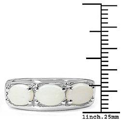 Malaika Sterling Silver 3-stone Genuine Opal Ring (Size 7)