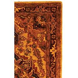 Safavieh Handmade Classic Heriz Gold/ Red Wool Rug (3' x 5') - Thumbnail 2