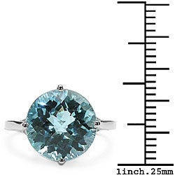 Malaika Sterling Silver Genuine Blue Topaz Solitaire Ring