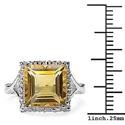 Malaika Glimmering 4.00ctw Genuine Citrine Silver Ring - Thumbnail 2