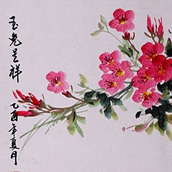 'Rabbits and Spring Flowers' Scroll Painting