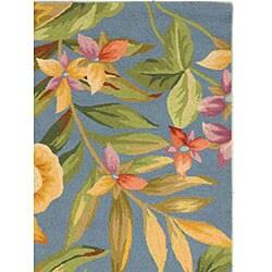 Safavieh Hand-hooked Paradise Blue Wool Rug (3'9 x 5'9) - Thumbnail 2