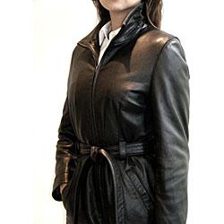 Izod Women's Plus Size Black Leather Jacket