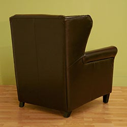 Laura Brown Bi-cast Leather Club Chair with Ottoman