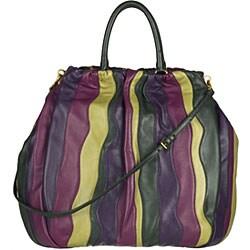 Prada Violet, Green and Yellow Striped Nappa Tote - Thumbnail 2