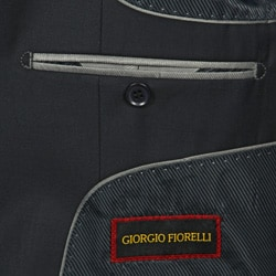 GiogioMen's Solid Navy 3-button Suit - Thumbnail 2