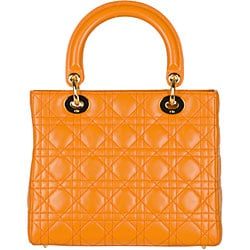 Christian Dior 'Lady Dior' Small Orange Quilted Tote - Thumbnail 2