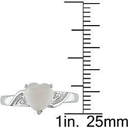 10k White Gold Opal Heart Ring - Thumbnail 2
