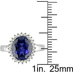 10k Gold Created Sapphire and 1/5ct TDW Diamond Ring - Thumbnail 2
