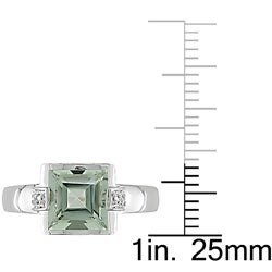 10k White Gold Green Amethyst and Diamond Ring - Thumbnail 2