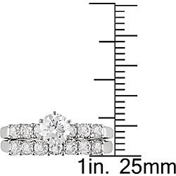 14k White Gold 1 1/2ct TDW Diamond Bridal Rings Set (G-H, I1-I2)