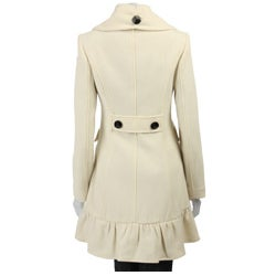 Betsey Johnson Women's Ruffle Cashmere Blend Walker Coat - Thumbnail 2
