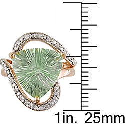 14k Gold Green Amethyst and 1/10ct TDW Diamond Ring - Thumbnail 2