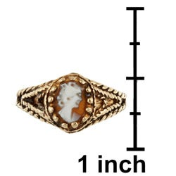 14k Yellow Gold Antiqued Cameo Ring - Thumbnail 2