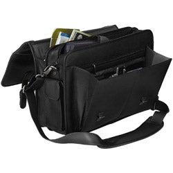 Bacara Deluxe Black European Leather Laptop Case - Thumbnail 2