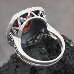 Sterling Silver Marcasite and Red CZ Ring (Thailand) - Thumbnail 2