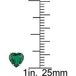 Miadora 10k Gold Heart-shaped Created Emerald Earrings - Thumbnail 2