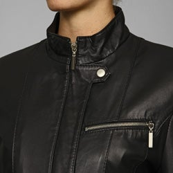 IZOD Women's New Zealand Lamb Leather Cycle Jacket