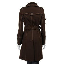 J Lo Women's Double-breasted Wool Blend Trench Coat - Thumbnail 2