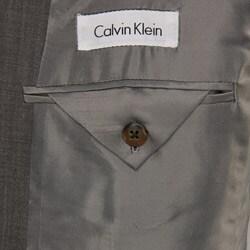 Calvin Klein Men's Grey Sharkskin Wool 2-button Suit - Thumbnail 2