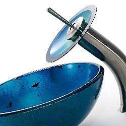 Kraus 14-in Irruption Blue Sink/ Nickel Waterfall Faucet