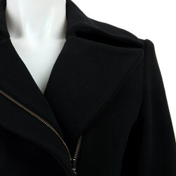 Cole Haan Wool Cashmere Asymmetrical Zip Belted Coat
