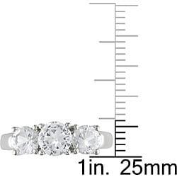 10k White Gold Created White Sapphire 3-stone Ring - Thumbnail 2