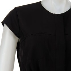 Thumbnail 3, Calvin Klein Women's Black Snap-front Cap Sleeve Dress. Changes active main hero.
