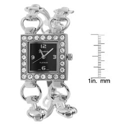 Geneva Platinum Women's CZ-lined Square Watch