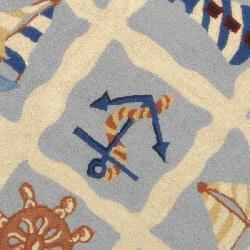 Safavieh Hand-hooked Sailor Ivory Wool Rug (5' 6 x 5' 6 Round) - Thumbnail 2