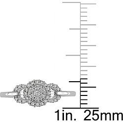 Miadora 10k White Gold 1/5ct TDW Diamond Halo Ring - Thumbnail 2