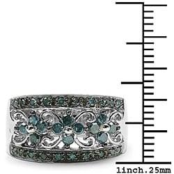 Sterling Silver 1/2ct TDW Genuine Blue Diamond Ring - Thumbnail 2