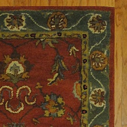 Indian Red/ Green Wool Rug (3'3 x 5'3) - Thumbnail 2