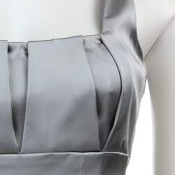 Calvin Klein Women's Silver Stretch Satin Sheath Dress - Thumbnail 2