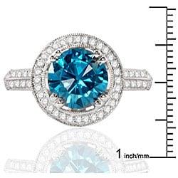 14k White Gold 2 1/2ct TDW Blue Diamond Halo Ring - Thumbnail 2