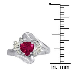10k White Gold Created Ruby and Diamond Heart Ring - Thumbnail 2