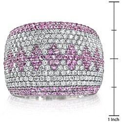 18k Gold 1 1/2ct TDW Diamond/ Pink Sapphire Ring (G, VS2) (Size 7.5) - Thumbnail 2