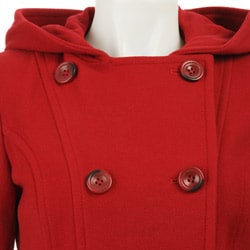 AK Anne Klein Women's Petite Hooded Wool Peacoat