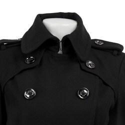London Fog Women's Double-breasted Military Wool Walker - Thumbnail 2
