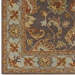 Hand-tufted Spa/ Brown Wool Rug (5' x 8') - Thumbnail 2