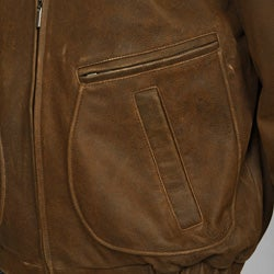 Izod Men's Big and Tall Distressed Leather Bomber Jacket - Thumbnail 2