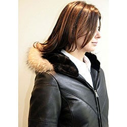 Izod Women's Plus Size New Zealand Lambskin Leather Puffer Jacket - Thumbnail 2