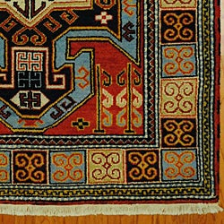 Indo Kazak Red/ Ivory Wool/ Cotton Rug (4'8 x 6'5) - Thumbnail 2