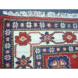 Indo Kazak Hand-knotted Red/ Ivory Rug (4'8 x 6'8) - Thumbnail 2