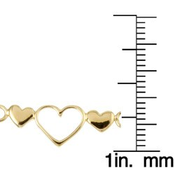 Sterling Essentials 14K Gold over Silver Triple-heart Anklet