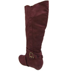 Bamboo by Journee Collection Women's Microdsuede Side Buckle Boots