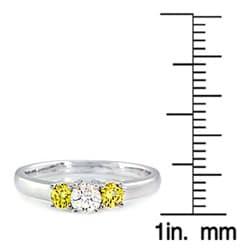 14k White Gold 1/2ct TDW White/ Yellow Diamond Ring (H, I1) (Size 6.5)