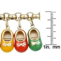 18k Yellow Gold Enamel Baby Shoe Charm Estate Bracelet - Thumbnail 2